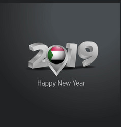 Happy new year 2019 grey typography with sudan vector
