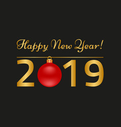 happy new year greeting card on black background vector image