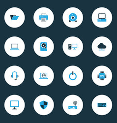 Hardware colorful icons set collection of power vector