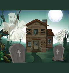 Haunted house and graveyard at night vector
