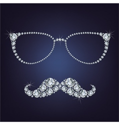 hipster mustache and glasses made up a lot of diam vector image