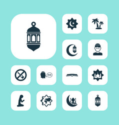 Holiday icons set with muslim female islamic no vector