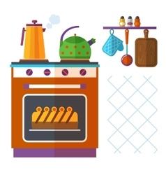 Home kitchenware concept with stove kettle vector