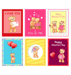 i love you and me teddy bears vector image