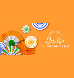 India independence day tricolor badge web banner vector