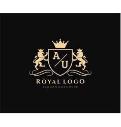Initial au letter lion royal luxury heraldiccrest vector