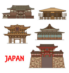 Japanese travel landmarks with religion buildings vector