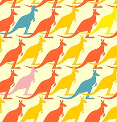 Kangaroo seamless pattern Colored animals vector image