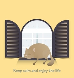 Keep calm and enjoy the life Cute fat cat vector image