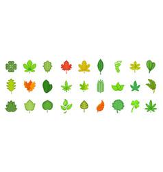 leaf icon set cartoon style vector image