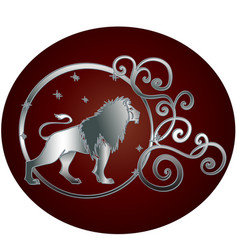 Leo zodiac sign in circle frame vector