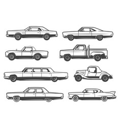 line icons of retro cars and vintage auto vector image
