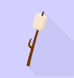 Marshmallow on wood stick icon flat style vector