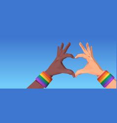 Mix race human hands gesture in heart shape lgbt vector