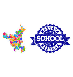 Mosaic map haryana state and distress school vector