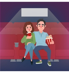 Movie Time Banner Young Couple at the Cinema vector