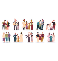 Multiracial families happy mothers fathers vector