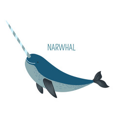 narwhal with sharp horn childish book character vector image