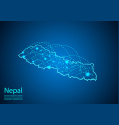nepal map with nodes linked by lines concept of vector image