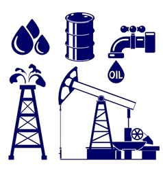 Oil industry icon set symbol vector