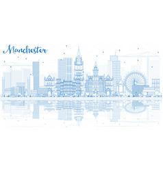 Outline manchester skyline with blue buildings vector