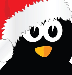 penguin with christmas hat art vector image