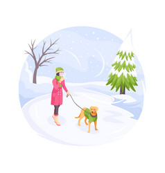 pet walking in winter snow cold woman and dog vector image
