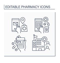 Pharmacy line icons set vector