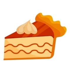 Piece of cake with cream icon cartoon style vector image