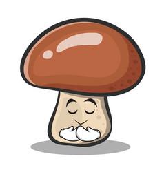 Praying mushroom character cartoon vector