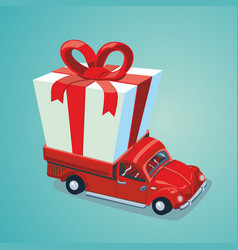 red car with a present delivery service carton vector image