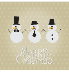 Retro Snowman with Mustache and Hats vector image