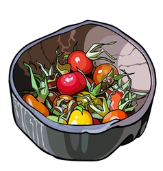 Rosehip fruit in a wooden bowl vector
