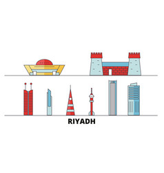 saudi arabia riyadh flat landmarks vector image