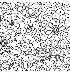 Seamless pattern hand drawn floral doodle mandala vector