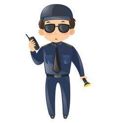Security guard with phone and light vector
