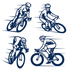 Set bicycling racer vector