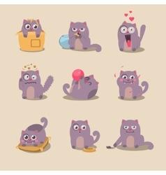 Set cute cartoon cat in various poses vector