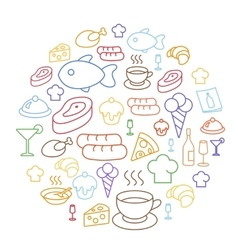 Set of flat food icons drawing line Circular vector image