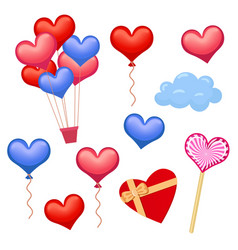 set of hearts and heart-shaped decoration elements vector image