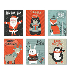 set six christmas greeting cards vector image