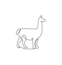 Single continuous line drawing adorable llama vector