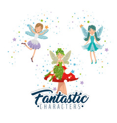 sweet and cute fairy cartoon vector image