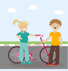 the guy and the girl are standing near the bicycle vector image