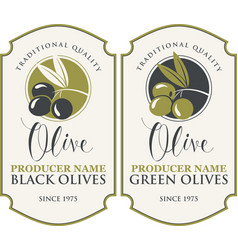 Two labels for green and black olives vector