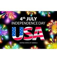 USA flag with fireworks background Happy 4th July vector image