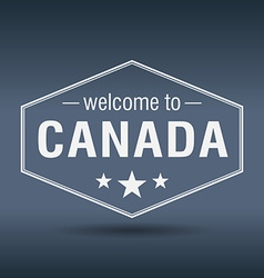 Welcome to Canada hexagonal white vintage label vector