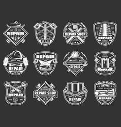 Work tools badges construction and repair service vector