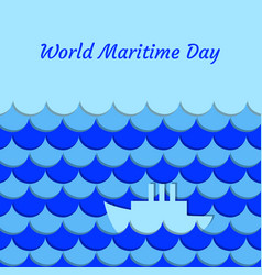 World maritime day september 27 stylized waves vector