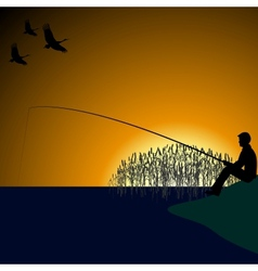 A fisherman on the lake-1 vector image vector image